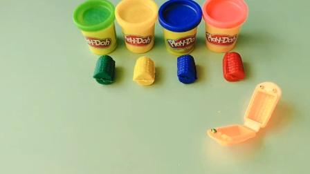 儿童益智玩具:彩泥手工颜色的玉米