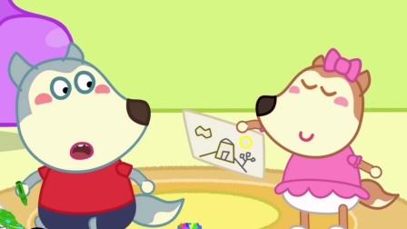 沃尔夫益智动画:妹妹哥哥沃尔夫看自己的画画作品