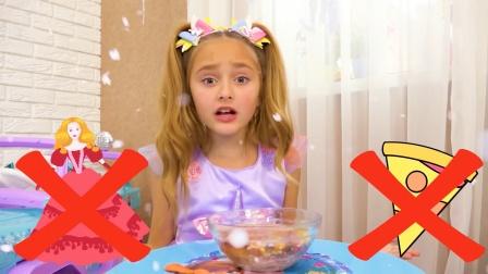 食物被冻住了,小萝莉怎么吃呢!