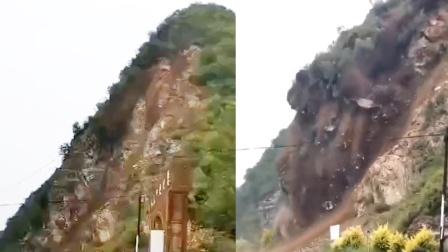 G108国道河北涞水段山体滑坡,目击者拍下惊险瞬间!