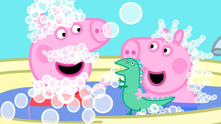 小猪佩奇和小猪乔治一起洗好玩的泡泡浴 简笔画