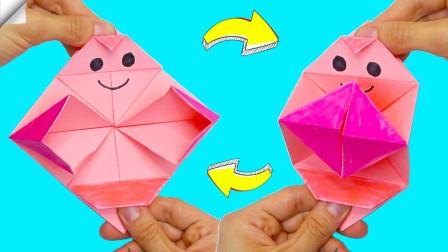 """会""""拍手""""的折纸减压玩具,做法简单,一张纸就做好了"""
