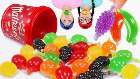 吃货:挑战不同颜色的果冻,一起来看看呀