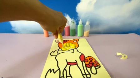做一个小鹿的沙画,颜色鲜艳美丽