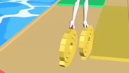 小姐姐踩着滚轮,这像是个哪吒