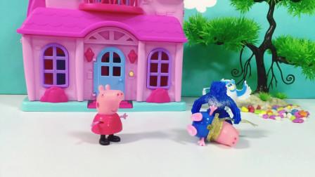 怪兽抓走了乔治,小猪佩奇追怪兽摔倒,佩奇叫奥特曼救乔治