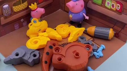 趣味童年:猪爷爷帮乔治拼好了他的恐龙