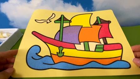 今天给小宝贝拼一艘大帆船的拼图