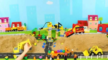 挖土机与翻斗车工地模拟工作 亲子益智玩具