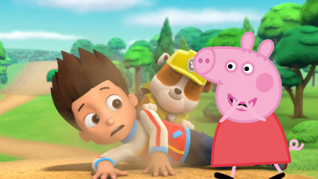 小猪佩奇取笑摔倒的汪汪队立大功莱德