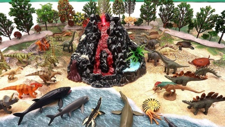 认识恐龙岛上的古生物和小恐龙