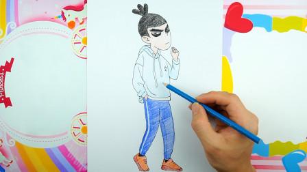 国漫动画刺客五六七人物临摹,五六七简笔画加彩铅上色教程