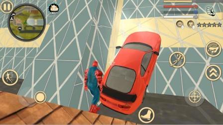 绳索英雄,蜘蛛侠把飞在空中的汽车,扯上大楼