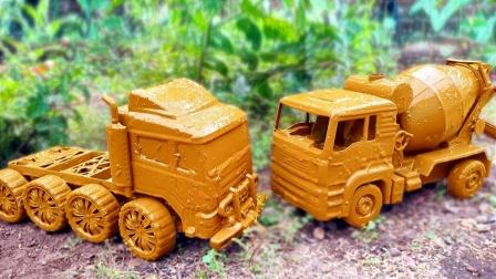 草地里认识搅拌车、卡车等玩具,你喜欢哪个玩具?
