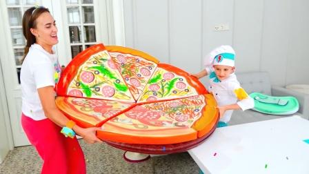 萌娃小厨师做一个好大的披萨,给他点个赞吧