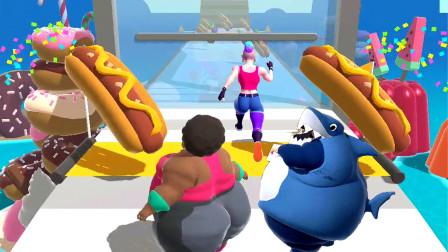 疯狂吃货:鲨鱼和小姐姐比赛,赛道变成了美食游乐园!