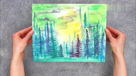 百洁布变身神奇画笔,DIY创意水彩画!
