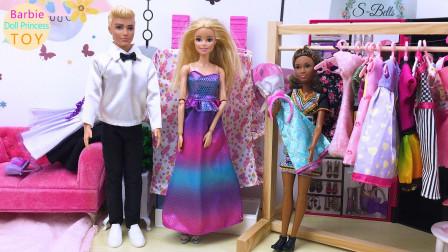 芭比娃娃公主玩具,芭比娃娃和肯在商场购买服装