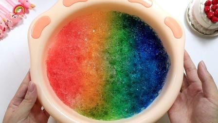 用芦荟胶也能做彩虹棉花泥?一掌呼下去会?