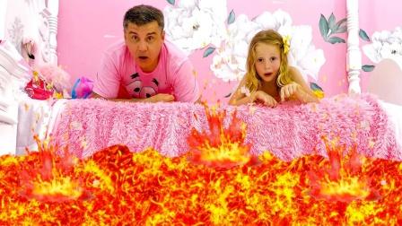 地板上冒出岩浆,小萝莉和爸爸被困在床上,惊醒后原来是一场梦啊