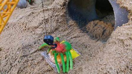 哇,大蜘蛛,挖掘机快跑啊