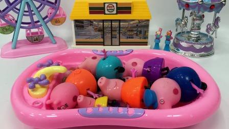 小猪一家洗澡啦,怎么有三个猪妈妈呢