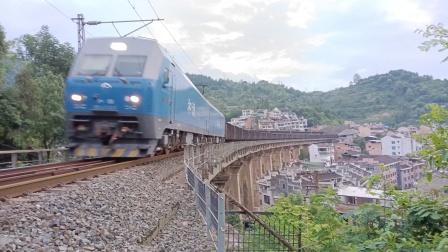 HXD1(蓝精灵)敞车大列通过沪昆线桥-1227