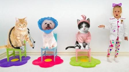 动物诊所有很多动物排队治病,小女孩是很厉害的动物医生,真有趣