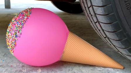 把气球、儿童玩具等放在车轮下碾压,看着好解压