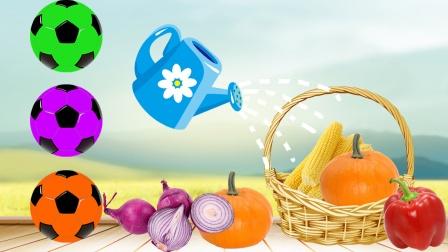 篮子里的水果蔬菜变成了彩色足球