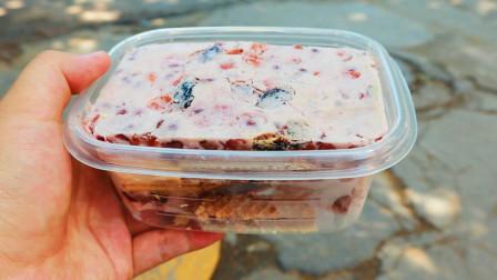 奶立方炒酸奶,22元一份小方砖,威化饼干味的好吃
