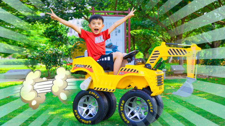 儿童情景剧:正正的挖掘机轮子掉了,用汽车轮子改装挖掘机