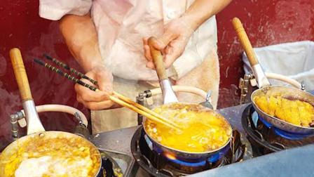 50岁大叔摆摊卖猪排饭,5口锅同时操作,半小时做30锅!