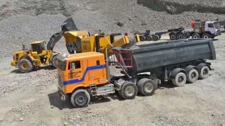 RC遥控卡车装载机玩户外沙子