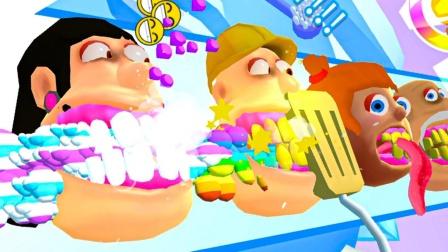 刷牙模拟器:大嘴猴牙齿好多好费牙膏,小僵尸们赚了好多钱