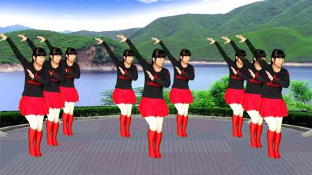 老歌广场舞《山水唱情歌》歌声甜美动听,舞蹈好看又好学