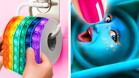 解压玩具能玩出啥新花样?老外和美食一起挑战,升级版玩法太过瘾了