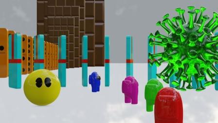 吃豆人动画:黄色吃豆人击败绿色病毒