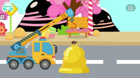 宝宝车辆认知儿童游戏,吊车进行救援任务
