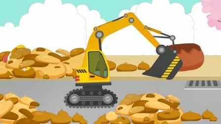 宝宝车辆认知儿童游戏,组装挖掘机来救援