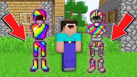 我的世界:变异僵尸村民袭击村庄,到底哪套彩虹装备才能打败它?