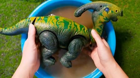 挖掘机和大恐龙来了哦