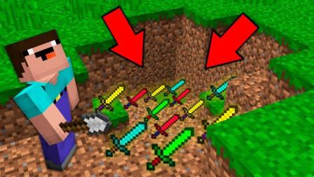 我的世界MC动画:挖土的菜鸟发现了秘密剑宝!