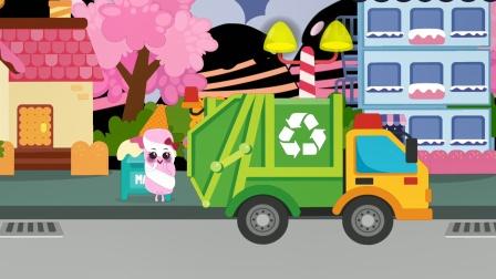 宝宝车辆认知游戏,垃圾车进行垃圾回收