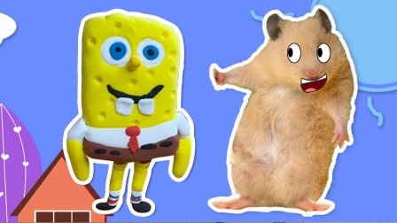 小仓鼠吃完香蕉乱扔香蕉皮,被海绵宝宝教训,搞笑