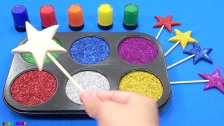 用软糖水泥出漂亮的星星形状、在打上美丽的星星点点