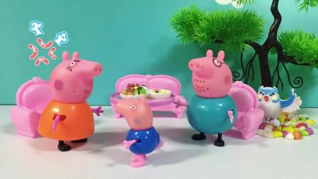 乔治不让猪爸爸猪妈妈吃肉,肉肉都是乔治的,不料被猪妈妈教育