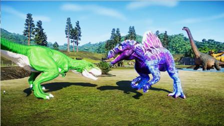 侏罗纪世界:花花棘龙VS绿胖子