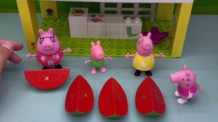 猪爸爸买西瓜给佩奇和乔治吃