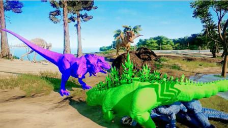 侏罗纪世界:三头霸王龙VS绿色哥斯拉